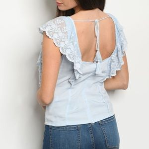 - PRICE FIRM BLUE EYELET TOP WOMENS